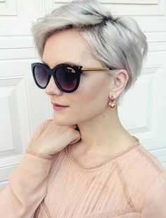 Long pixie cut silver platinum blonde short hair