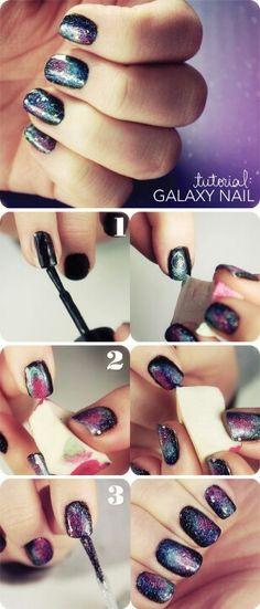 Nebula nail polish design