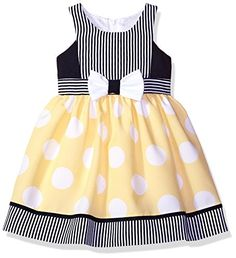 Bonnie Jean Girls' Nautical Dot Dress: Sleeveless waistline nautical dress with stripe bodice and jumbo bow front skirt. Bonnie Jean Dress has made fashionable, high quality, affordable and age appropriate dresses and playwear sets since Girls Dress Up, Frocks For Girls, Little Girl Outfits, Kids Outfits Girls, Little Dresses, Little Girl Dresses, The Dress, Baby Dresses, Dress Red