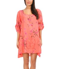 100% LIN BLANC Coral Roll-Tab Sleeve Linen Shift Dress - Women & Plus | zulily