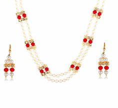 Aaishwarya Glamorous Pearl & Red Bead Necklace Set @ Rs. 809/- #necklaceset #pearlnecklaceset #beadnecklaceset #fashionjewelry #ethnicjewelry #pearljewelry #pearlyset