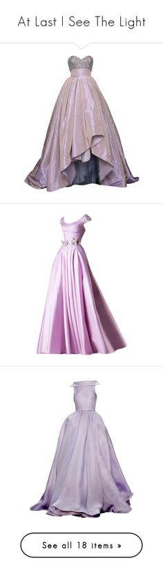 """""""At Last I See The Light"""" by lucyhalliday ❤ liked on Polyvore featuring dresses, gowns, satinee, purple evening dresses, reem acra, purple evening gowns, purple ball gowns, purple gown, long dresses and vestidos"""
