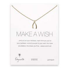 Dogeared 'make a wish large wishbone gold dipped reminder necklace' $50.00