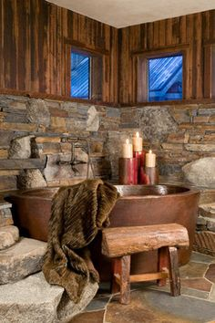 Native Trails Aspen copper bathtub in Ski Slope home by High Camp Home http://www.nativetrails.net/copper-tubs/aspen.html