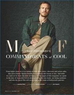 Actor Michael Fassbender wears a fall look from Lanvin with shoes by Made Worn for British GQ.