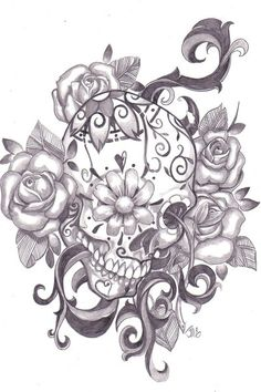 Skulls & Stuff / Sugar Skull Tattoo Idea. love the alternate perspective. would choose a different flower than roses for the background