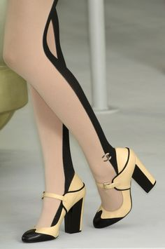 Color Block Fab!! Two toned Chanel tights/Mary Janes
