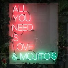 All you need is love and mojitos (or margaritas) Orange Aesthetic, Neon Aesthetic, Neon Rouge, Neon Bleu, Illustration Photo, Neon Words, Light Quotes, All You Need Is Love, Neon Lighting