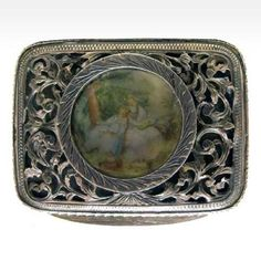 Small Continental Filigree Silver Box with Painted Ivory Plaque Late 19th century