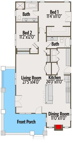 1433 Sq Ft, Bungalow with Wrap-Around Porch - Architectural Designs, floor plan - Main Level Small House Floor Plans, Bungalow House Plans, Bungalow Porch, Bungalows, The Plan, How To Plan, Cottage Plan, House With Porch, Bedroom House Plans