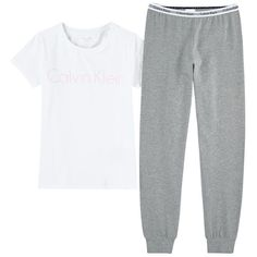 Calvin Klein Grey Jersey: Cotton Elastane Machine washable at Two-piece pyjamas ✓ Shipping in 24 hours ✅ 28 days to return ✓ Free returns ! Calvin Klein Pyjamas, Plain Shirts, Girls Pajamas, Kids Sleep, Two Pieces, Girl Outfits, Pajama Pants, Short Sleeves, Sweatpants