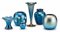 Six pieces blue iridescent art glass, most durand, millville, nj, 20th century