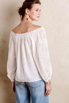 ANTHROPOLOGIE NEW $138 Cadena Peasant Top Leifsdottir Women's Blouse White NWT #Anthropologie #Blouse #Casual