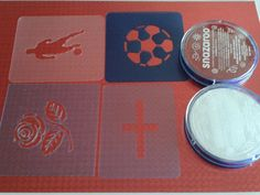 Football Face Paint, Glitter Tattoo Set, Face Paint Set, George Cross, Stencil Painting, Fundraising, Charity, Stencils, Red And White