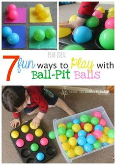 """PLAY IDEA: 7 Fun Ways to Play With Ball-Pit Balls More Get some foam sheets the same color as the balls for color sorting. Also muffin tins for the """" in and out"""" game Activities For 1 Year Olds, Toddler Learning Activities, Indoor Activities For Kids, Games For Toddlers, Baby Learning, Infant Activities, Preschool Activities, Summer Activities, Family Activities"""
