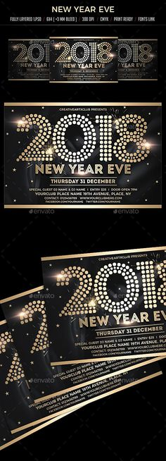 New Year Eve 2018 Template PSD #nye2018 #design