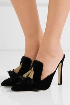Sanayi313 - Serata Tasseled Velvet Mules - Black - IT39