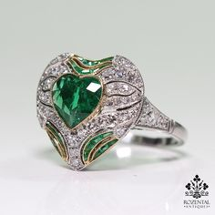 Antique Art Deco Platinum 1.75ct. Emerald & Diamond Ring – Rozental Antiques