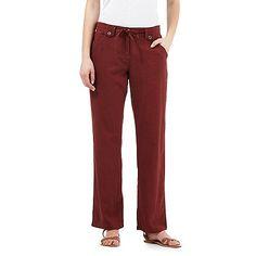 The Collection Dark brown linen blend trousers | Debenhams