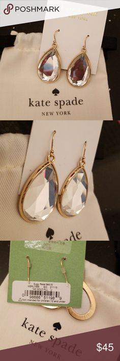 Kate Spade Gold Drop Earrings Brand new with dust bag. 14K Gold Fill, beautiful! kate spade Jewelry Earrings