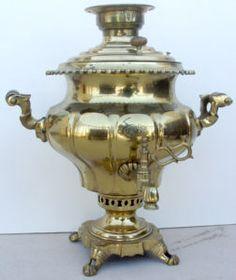 "19 century antique russian brass samovar - nice ""pear"" shape"