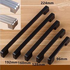 modern simple black furniture handle black 96mm 128mm 160mm 192mm 224mm drawer kitchen cabinet wardrobe door handles pulls knobs
