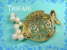 TRIFARI - Tropical Fish Pearl Brooch - Open Swirl Filigree Belly Design  @@ FREE SHIPPING @@
