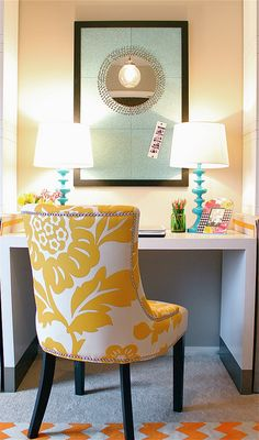 cute chair with the peachy walls