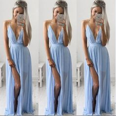 2016 New's Sleeveless Strap V-Neck Slit Dress Off The Shoulder Blue Fashion Chiffon Vestido De Festa High-End Sexy Long Dresses