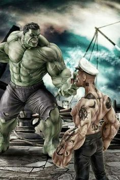 My money is on Popeye chewing up the Hulk and spitting him out like bad spinach.