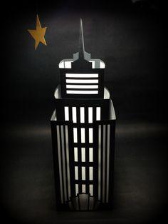 NYC Luminary Empire State Building Cut Paper Lantern Black and White Light Up Home Decor New York City Art Deco DIY Wedding Centerpiece