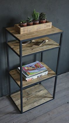 Industrial Reclaimed Barn Wood shelving unit - A Möbel - Steel Furniture, Unique Furniture, Cheap Furniture, Industrial Furniture, Rustic Furniture, Office Furniture, Furniture Design, Furniture Stores, Luxury Furniture