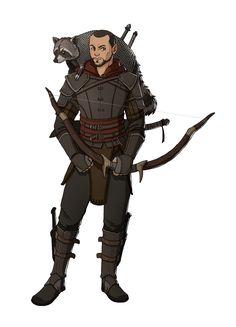 Rogue/ranger with raccoon companion Dungeons And Dragons Ranger, Dungeons And Dragons Characters, D D Characters, Fantasy Characters, Fantasy Character Design, Character Concept, Character Art, Character Ideas, Concept Art