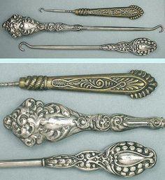 Antique Sterling Silver & Brass Button Hooks; Circa 1890-1910