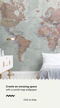 Quality Classic World Map Mural, custom made to suit your wall size, and fully customisable. A classic wallpaper style that will be timeless in your space. World Map Painting, World Map Mural, World Map Wallpaper, Wall Wallpaper, Bedroom Wallpaper, World Map Decor, Bedroom Color Schemes, Bedroom Colors, Bedroom Decor