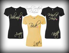 1 Bridal Party T-Shirt, Wedding and Bridal Party Shirt, Bachelorette Shirt, Bridesmaid Shirt, Honeymoon Shirt by SimplySouthernCharms on Etsy https://www.etsy.com/listing/199244773/1-bridal-party-t-shirt-wedding-and