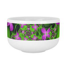 Modern Abstract Neon Pink Green Fractal Flowers Soup Mug