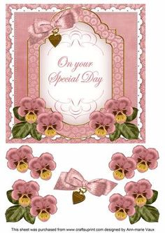 Pink Pansy Special Day Fancy 7in Decoupage Topper on Craftsuprint - Add To Basket!