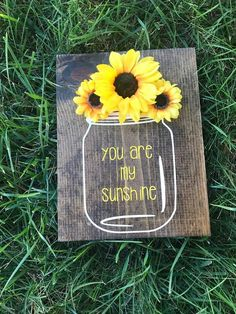you are my sunshine wooden wall decor hand painted sign mason jar sunflower decor country rustic nursery baby decor home decor Diy Gifts For Christmas, Sunflower Room, Sunflower Crafts, Sunflower Home Decor, Sunflower Nursery, Sunflower Bathroom, Sunflower Decorations, Sunflower Wreaths, Wedding Decorations