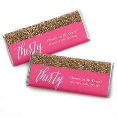 Chic Pink, Black and Gold - 30th Birthday - Personalized Birthday Party Candy Bar Wrapper Favors | BigDotOfHappiness.com