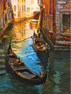 Картины :: Гондолы | Купить картину у художника в подарок начальнику начальнице для интерьера | Венеция городской пейзаж импрессионизм масло