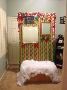 Making a custom booth or just draping cloth will work! Great for an ugly sweater party Tacky Christmas Party, Tacky Christmas Sweater, Office Christmas Party, Ugly Sweater Party, Christmas Party Decorations, Xmas Party, Christmas Photos, Holiday Fun, Tacky Sweater