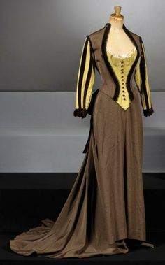 "PATHÉ  Costumes, Deposit No. 7 Dress twist in braided brown velvet ottoman and yellow linen made for the movie ""NANA"" Christian Jacques, costumes by Marcel Escoffier, Pierre Cardin ""played by Martine Carol in 1955."