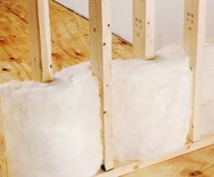 Staggered studding allows for sound-proofing fiberglass insulation.