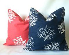Coral Navy Beach Pillow Cover Set -  18 x 18, Two, Beach Pillows, Ocean Decor, Sea Coral Pillow, Beach Decor, Coral Navy Cushions