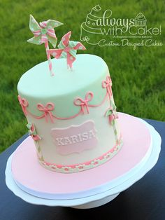 Pinwheel Birthday - by Alwayswithcake @ CakesDecor.com - cake decorating website