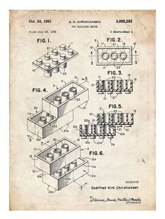 LEGO TOY Building Construction Blocks 1961 US Patent Print 18x24 The Lego Movie Poster Gift - This will look great in your kid's room!