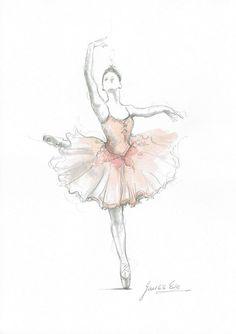 Ballerina Illustration Print Pink Ballerina Ballerina by EwaGawlik Ballerina Drawing, Dancer Drawing, Ballet Drawings, Dancing Drawings, Art Drawings, Art Ballet, Ballerina Painting, Ballet Dancers, Ballerinas