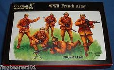CAESAR SET #38 WWII FRENCH ARMY - 1/72 SCALE UNPAINTED PLASTIC FIGURES – DRUMANDFLAG