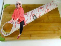 Paula Deen riding a JJ's sammie.